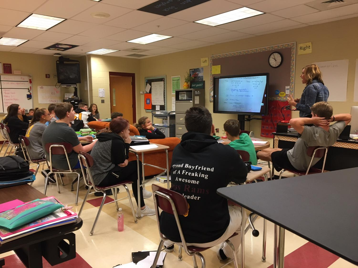 Mrs. Amy Brossart's third block math class hard at work during a lesson, in their choice of seating.