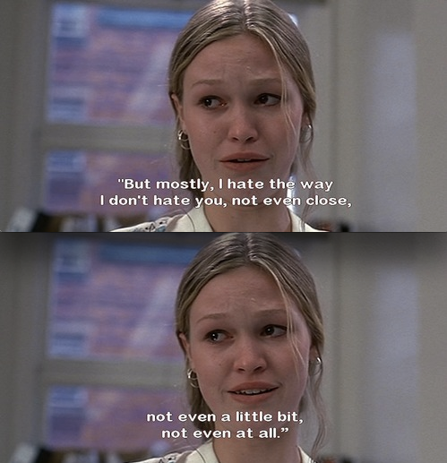 Actress Julia Stiles explains her feelings to her on-screen boyfriend played by the late Heath Ledger.