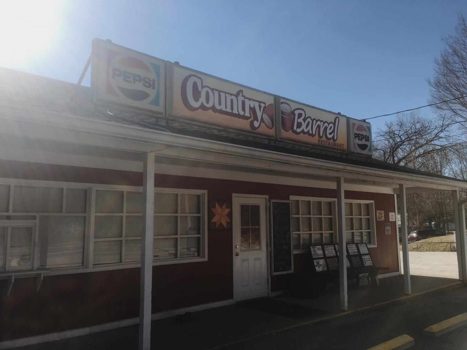 An outside look of the Country Barrel restaurant.