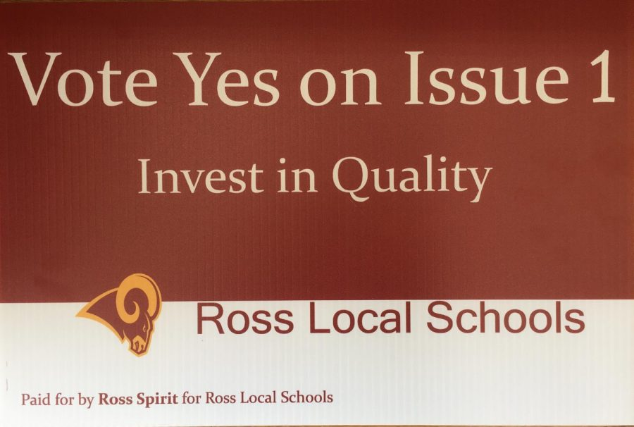 A yard sign in support of the levy available for Ross community members.