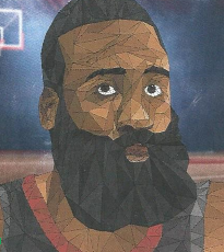 """James Harden"" by John Nerswick wins a Gold Key Award for the 2020 Scholastic Art Awards"