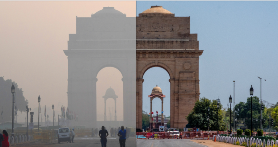 Air pollution levels before (left) and during (right) mandated quarantine.