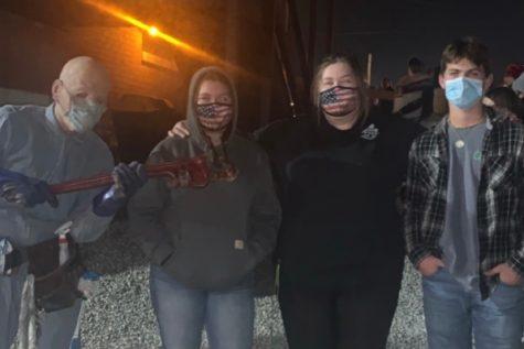 Amy Brandenburg, Lisa Brandenburg, and Wade Payne visiting Dent Schoolhouse late October 2020