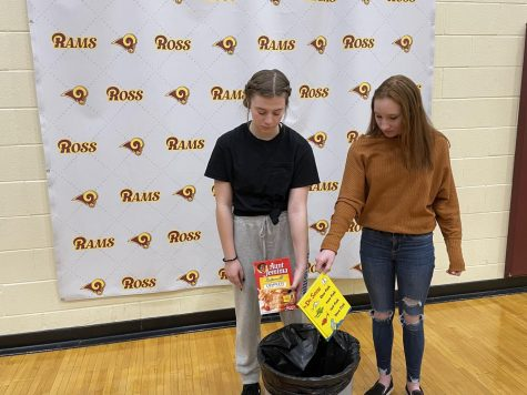 """Sophomore Carli Gronas and freshman Peyten Banks part ways with their """"canceled"""" items."""