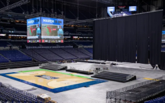 Lucas Oil Stadium, home of the Indianapolis Colts, prepares to host the 2021 NCAA basketball tournament games.
