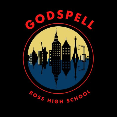 The logo of the Ross High School's spring musical production, Godspell.