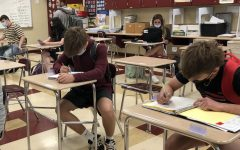 Students in Mr. Dunn's 4th block geometry class practices social distancing, and complies with Ohio's mask mandate.