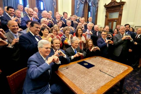 Lawmakers in Texas signing the Heartbeat Act into law. Photo credit: Bryan Hughes Twitter